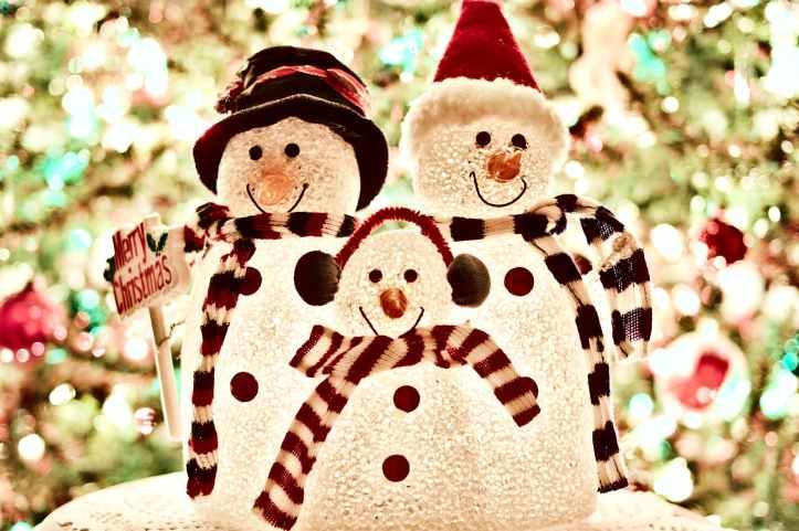 three white snowman decorations